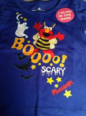 Girls 12M 18M 3T 4T 5T Sesame Street Elmo Blue Halloween Glow In The Dark Shirt](M Street Halloween)