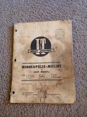 It Minneapolis Moline Tractor Shop Manual Mm-16 Ub Special Uts Ms M Series