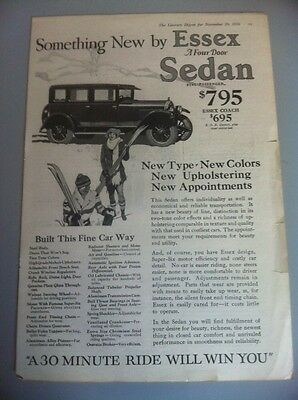 1926 Essex Sedan Vintage Original Literary Digest Ad