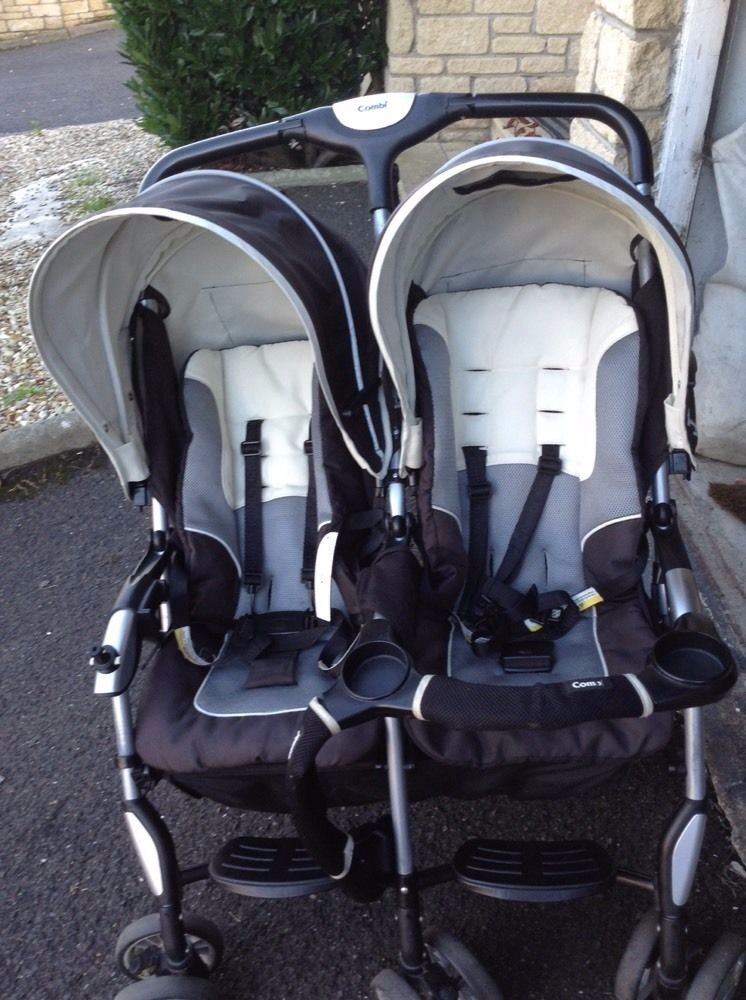 American Combi Twin Savvy E Stroller Double Seat Pushchair easy 3 ...