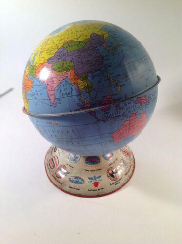 Vintage Ohio Art Globe  Bank Metal globe with Airlines Logos On Base