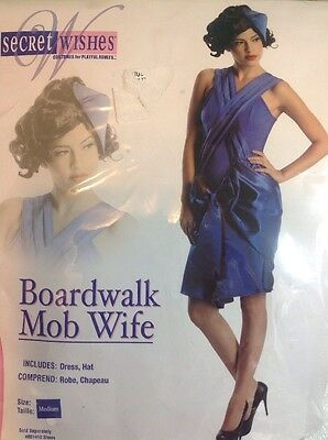 NEW Mob Wife Womens Halloween Costume Size Medium Royal Blue Dress Lady Hat Set - Mob Wife Halloween Costume