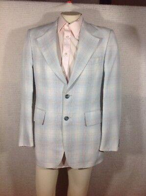Jc Penney Vintage Blazer Baby Blue Plaid w Tan/white 2 button polyester