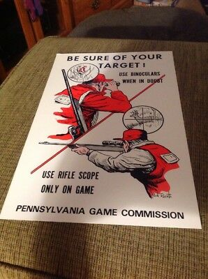 Original 1970s PA Game Commission Poster,Be Sure Of Your Target