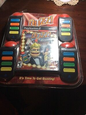 BUZZ Hollywood Quiz FOR PLAYSTATION 2 w/ 4 Buzzers NEW FACTORY SEALED (Buzzers For Games)