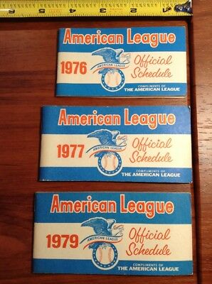 1976-1979 American League Baseball Schedule Lot Clean, No Pen Marks