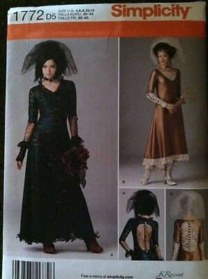 Simplicity Sewing Pattern 1772 Ladies Steampunk Gothic Costumes Sizes 4-12 New