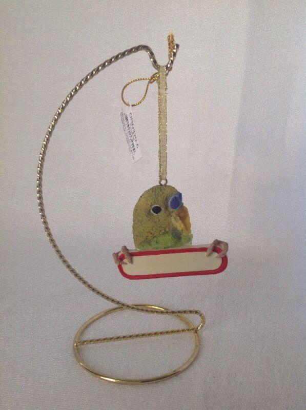 E&S IMPORTS Ceramic Parakeet Christmas Ornament