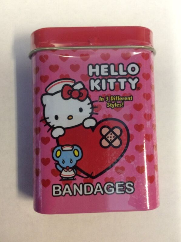 Hello Kitty Bandages in Collectible Tin Contains 3 Styles With 15 Bandages New