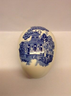 """COALPORT Blue Willow 3""""  Egg Shaped Trinket with Lid Numbered '38' EX COND"""