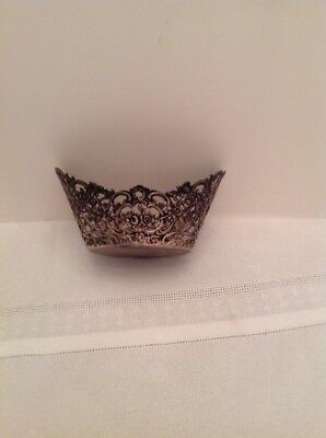 Antique Lace Like Bowl marked 800 Nice scroll designs