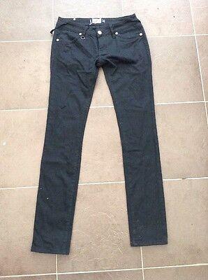 Best Loves Denim Jet Black Skinny Jeans UK 12 Leg 33 CA55
