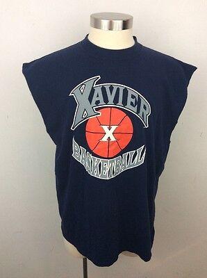 Vintage Xavier University Musketeers Basketball Logo Muscle Shirt Tank Top XL Xavier University Basketball