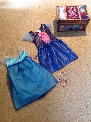Pre Owned Disney Anna And Elsa Costume In Cardboard Chest.  Size 4-6x. (Elsa And Anna Costume)