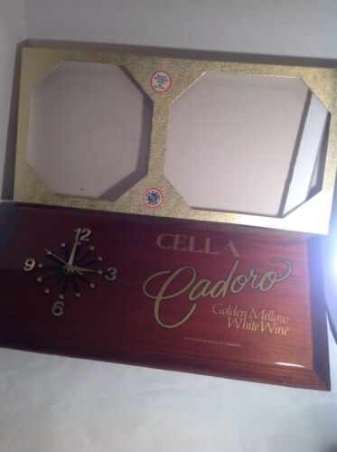 Wine Bar - Clock Wood Cella Cadoro Jos Garneau Vintage New Made In USA