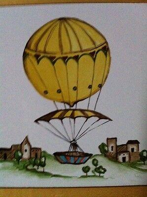 Vintage French Hot Air Balloon And Villa Ceramic Tile Trivet Wall Hanging