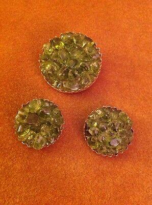 Vintage Estate Gold Tone Chunky Green Glass Pin Earrings Set