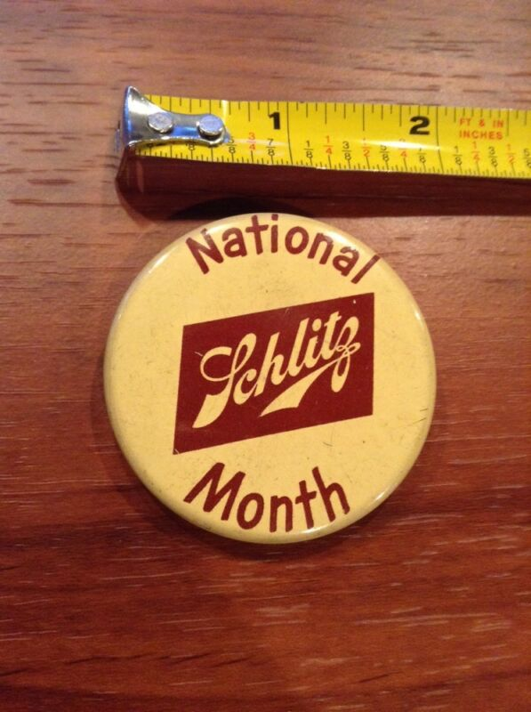 Vintage National Schlitz Month Pin Back Beer Brewery pinback button