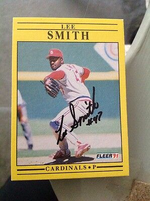 Lee Smith Cardinals Signed Autograph Fleer 1991 645