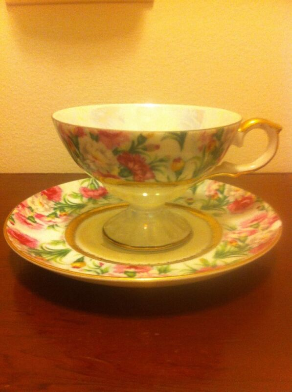 Lefton China Hand Painted Ne1424R Footed Cup Saucer Pink Floral Irridescent Gold