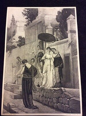 Girl Togas (1882 Old Vintage Antique Print Girls Togas Photogravure Print Fashion)