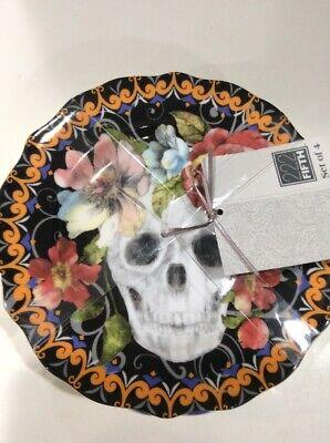 222Fifth Marbella Skull Halloween  4 New Appetizer Dessert Plates