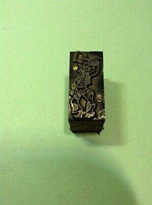Vintage Metal On Wood Printing Block- Cowboy Rootin Tootin