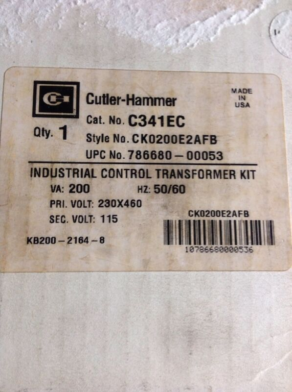 Cutler Hammer C341EC Industrial Control Transformer Kit 50/60Hz