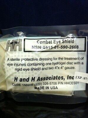 NEW COMBAT EYE SHIELD Hydrogel Disc W/ Rigid Shield + Guaze Dressing H&H IFAK