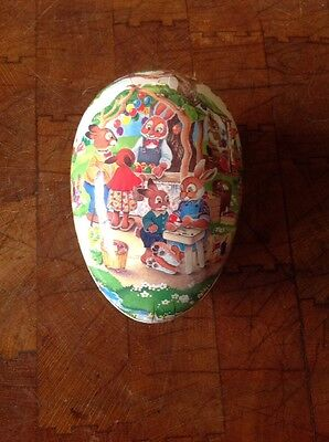 Nestler Paper Mache Easter Egg Signed A WOLF Germany  Rabbits Decorating Eggs
