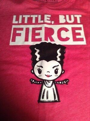 Little But Fierce Bride Of Frankenstein Girls XS S M L XL Pink Halloween Shirt - Bride Of Frankenstein Halloween