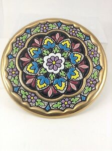 "Cearco Handpainted Small 6"" Decorative Plate flowers 24k Made In Spain"