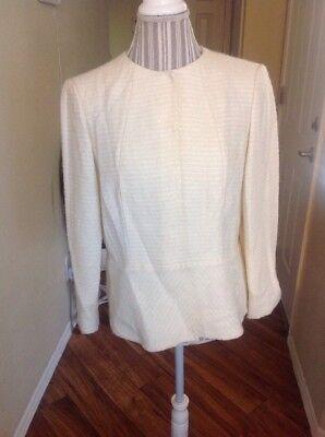 (Lafayette 148 Jacket Size 12 Wool Blend Ivory Glistening Blazer Womens)