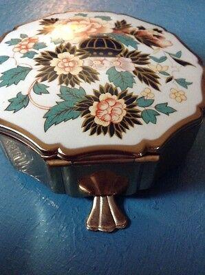 Vintage Jewel Box Stratton England Floral Design Gold Tone Multicolor Small