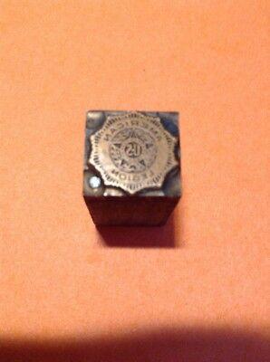 Vintage Copper On Wood Printing Block American Legion