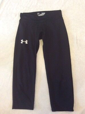Under Armour Youth Small Fitted Leggings Black Crops Girls Cheer Dance Run Sport