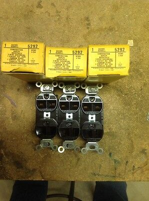 Lot Of 3 Hubbell Combination Duplex Outlets No 5292