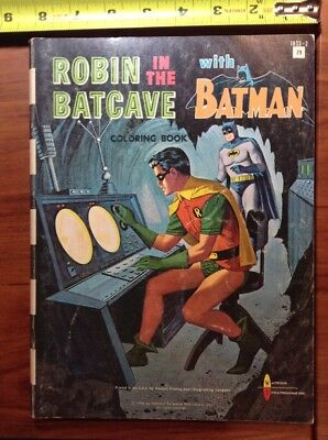1966 Robin In Batcave w Batman Coloring Book Western Printing Co