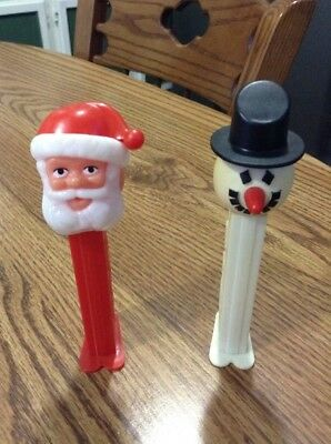 Vintage PEZ Dispensers (2) 1980's Santa Claus And Frosty Snowman!