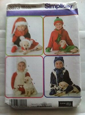 Simplicity Pattern #3973, Size A for All Sizes, Dog Coats & Matching Childs Hats