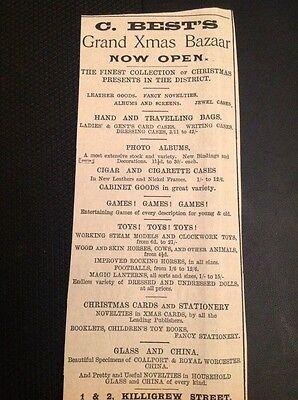 H8-1 Ephemera 1896 Advert Falmouth C Best Grand Xmas Bazaar ()