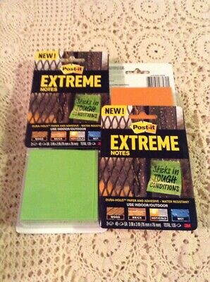Lot Of Post-it Extreme Notes Water Resistant 3x312 Pads Of 45total 540 Notes