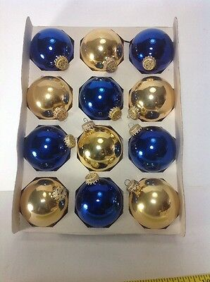 "Box 12 Gold & Blue Vintage RAUCH Glass 2-1/2"" CHRISTMAS Tree Bulb Ornaments USA"