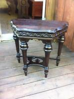 ANTIQUE WALNUT HALF MOON TABLE