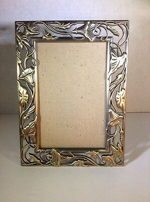 Metal Gold & Silver Leaves & Flowers Holds 4x6 Photo Frame