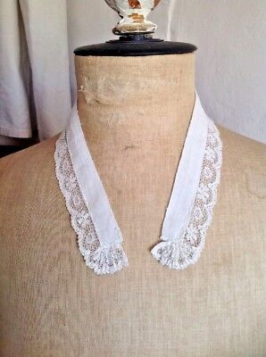 Antique Linen Collar 18C French Period Costume & Vintage Wedding Collar/ Puritan