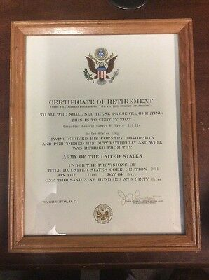 Certificate Of Retirement Brigadier General Neely US Army Historical Document