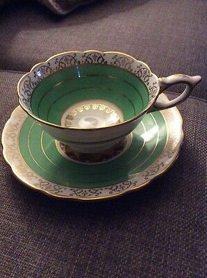 VINTAGE ROYAL STAFFORD BONE CHINA CUP AND SAUCER IN GREEN AND GOLD