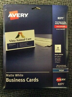Avery 8371 Matte White Business Cards Ink Jet 250 Cards New