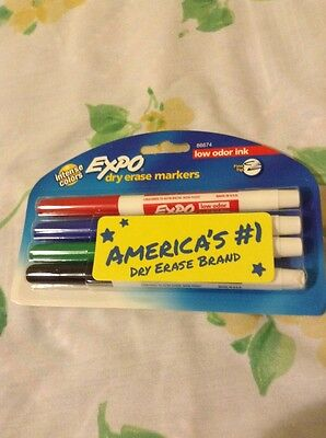 Expo Dry Erase Markers 4 Intense Colors Low Odor Ink Fine Tip New